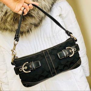 COACH⚡️Classic Signature Trim Leather Mini Purse